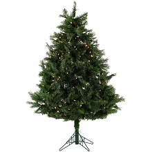 Fraser Hill Farm 5-Ft. Northern Cedar Teardrop Christmas Tree with Clear Smart String Lighting and EZ Connect - FFNC050-3GREZ