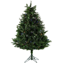 Fraser Hill Farm 5-Ft. Northern Cedar Teardrop Christmas Tree with Multi-Color LED Lights and EZ Connect - FFNC050-6GREZ