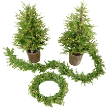 Fraser Hill Farm New England Artificial Holiday Doorway Bundle with Two 4 Ft. Potted Trees, 24 In. Wreath, and 9 Ft. Garland, FFNE000-SET4