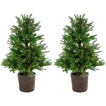 Fraser Hill Farm Set of Two New England Pine 4-Ft. Artificial Holiday Potted Trees with Smart LED Lighting, FFNE040-1GR/SET2