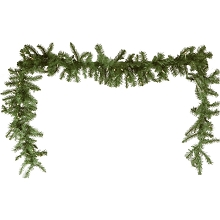 Fraser Hill Farm 9-Ft. New England Pine Artificial Holiday Garland with Battery-Operated Warm LED String Lights, FFNE090G-5GRB