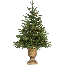 Fraser Hill Farm 3-Ft. Noble Fir Artificial Tree with Metallic Urn Base and Battery-Operated LED String Lights, FFNF042-5GRB