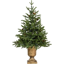 Fraser Hill Farm 4-Ft. Noble Fir Artificial Tree with Metallic Urn Base, FFNF056-0GR