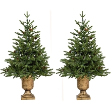 Fraser Hill Farm Set of Two 4-Ft. Noble Fir Artificial Trees with Metallic Urn Bases, FFNF056-0GR/SET