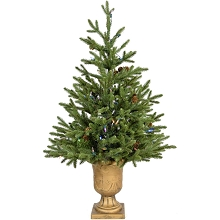 Fraser Hill Farm 4-Ft. Noble Fir Artificial Tree with Metallic Urn Base and Battery-Operated Multi-Colored LED String Lights, FFNF056-6GRB
