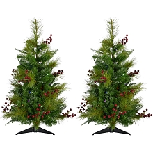 Fraser Hill Farm Set of Two 2-Ft. Newberry Pine Artificial Trees with Battery-Operated Multi-Colored LED String Lights, FFNP028-6GRB/SET2