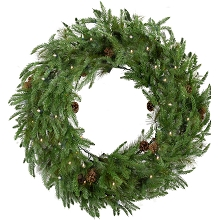 Fraser Hill Farm 48-In. Norway Pine Artificial Holiday Wreath with Clear Battery-Operated LED String Lights - FFNP048W-5GR