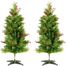 Fraser Hill Farm Set of Two 4-Ft. Newberry Pine Artificial Trees, FFNP056-0GR/SET2