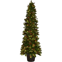 Fraser Hill Farm 4.5-Ft. Northwood Potted Christmas Tree Décor with LED Lights, FFNW045P-5GR