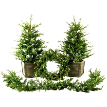 Fraser Hill Farm Royal Pine Artificial Holiday Doorway Bundle with Two 4 Ft. Potted Trees, 24 In. Wreath, and 9 Ft. Garland, FFRP000-SET4