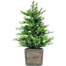 Fraser Hill Farm 4-Ft. Royal Pine Artificial Potted Tree with Battery-Operated LED Lights, FFRP040PT-5GRB