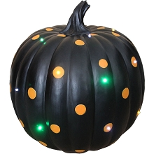 Haunted Hill Farm Indoor/Outdoor 15.5-In. Lighted Designer Pumpkin, Black with Orange Polka Dots, FFRS036-PMP1-BLK1