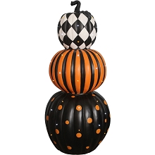 Haunted Hill Farm Indoor/Outdoor 36-In. Lighted Stacked Pumpkin Trio, FFRS036-PMP1-BLK2