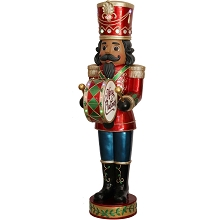 Fraser Hill Farm Indoor/Outdoor Oversized Christmas Decor, 5-Ft. Nutcracker Playing Bass Drum w/ Moving Hands, Music, Timer, and 15 LED Lights, FFRS060-NC5-RDAA