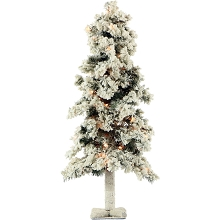Fraser Hill Farm 3-Ft. Snowy Alpine Tree with Clear Lights - FFSA030-1SN