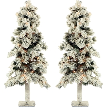 Fraser Hill Farm Set of Two 3-Ft. Snowy Alpine Trees with Clear Lights - FFSA030-1SN/SET2