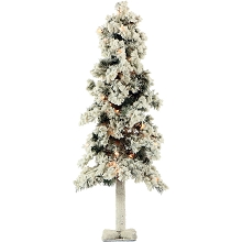 Fraser Hill Farm 4-Ft. Snowy Alpine Tree with Clear Lights - FFSA040-1SN
