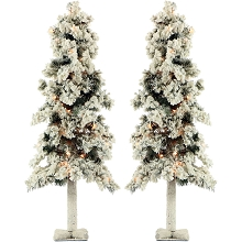 Fraser Hill Farm Set of Two 4-Ft. Snowy Alpine Trees with Clear Lights - FFSA040-1SN/SET2