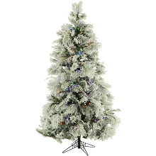 6.5 Ft. Flocked Snowy Pine Christmas Tree with Multi-Color LED String Lighting - FFSN065-6SN