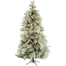 9 Ft. Flocked Snowy Pine Christmas Tree with Clear LED String Lighting - FFSN090-5SN