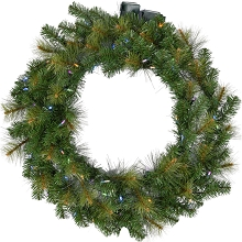 Fraser Hill Farm 36-In. Southern Peace Artificial Holiday Wreath with Multi-Colored Battery-Operated LED String Lights - FFSP036W-6GR