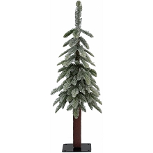 Fraser Hill Farm 3.0-Ft Woodland Pine Lightly Frosted Natural Wonderland Look Christmas Tree with Metal Base, No Lights, FFWP036-0FR