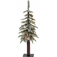 Fraser Hill Farm 3.0-Ft Woodland Pine Lightly Frosted Natural Wonderland Look Christmas Tree with Clear Smart Lights and Metal Base, FFWP036-3FR