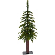 Fraser Hill Farm 3.0-Ft Woodland Pine Green Natural Wonderland Look Christmas Tree with Clear Smart Lights and Metal Base, FFWP036-3GR