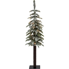 Fraser Hill Farm 4.0-Ft Woodland Pine Lightly Frosted Natural Wonderland Look Christmas Tree with Clear Smart Lights and Metal Base, FFWP048-3FR