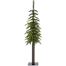 Fraser Hill Farm 4.0-Ft Woodland Pine Green Natural Wonderland Look Christmas Tree with Clear Smart Lights and Metal Base, FFWP048-3GR