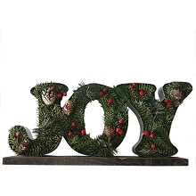 Fraser Hill Farm 20-In. Wide JOY-Shaped Metal Frame with Pinecones and Berries, Festive Indoor Christmas Decoration, FHFJOYFRM020-GRN1
