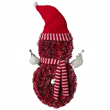 Fraser Hill Farm 25-In. Snowman-Shaped Wreath with Hat and Striped Scarf, Festive Indoor Christmas Decoration, Red, FHFSNMNWREATH025-RED1