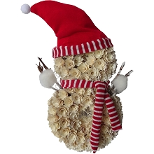Fraser Hill Farm 25-In. Snowman-Shaped Wreath with Red Hat and Striped Scarf, Festive Indoor Christmas Decoration, White, FHFSNMNWREATH025-WHT1