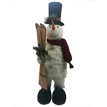 Fraser Hill Farm 30-In. Snowman with Skis, Festive Indoor Christmas Decoration, FHFSNWM030-WHT1