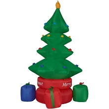 Fraser Hill Farm 6.5-Ft. Tall Animated Rotating Christmas Tree with Gifts, Blow Up Inflatable with Lights and Storage Bag, FHFTREE0651-LA