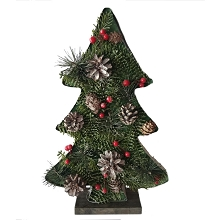 Fraser Hill Farm 20-In. Tall Tree-Shaped Metal Frame with Pinecones and Berries, Festive Indoor Christmas Decoration, FHFTREEFRM020-GRN1