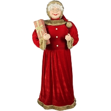 Fraser Hill Farm Life-Size Indoor Christmas Decoration, 5-Ft. Standing Mrs. Claus Holding Gift & Wearing Red Velvet Dress w/ Fur Trim, FMC058-0RD1