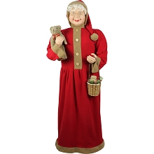 Fraser Hill Farm Life-Size Indoor Christmas Decoration, 5-Ft. Standing Mrs. Claus Holding Bear & Basket Wearing Red Plush Dress w/ Sherpa Trim, FMC058-0RD2
