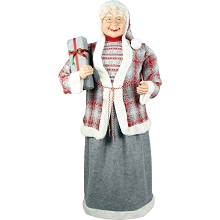 Fraser Hill Farm Life-Size Indoor Christmas Decoration, 5-Ft. Standing Mrs. Claus Holding a Gift & Wearing a Tweed Jacket w/ White Fur Trim, FMC058-0WT2