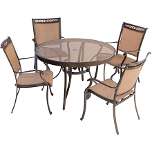 Fontana 5PC Dining Set with 4 Dining Chairs and a 48 In. Glass-Top Table - FNTDN5PCG