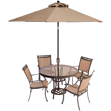 Fontana 5PC Dining Set with 4 Dining Chairs, 48 In. Glass-Top Table, Umbrella and Stand - FNTDN5PCG-SU