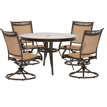 Fontana 5PC Dining Set with 4 Swivel Rockers and a 48 In. Glass-Top Table - FNTDN5PCSWG
