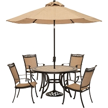 Fontana 5PC Outdoor Dining Set with Sling-back Chairs, 51 In. Tile-top Table and 9 Ft. Umbrella - FNTDN5PCTN-SU