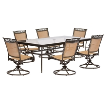 Fontana 7PC Dining Set with 6 Swivel Rockers and XL Glass-top Table - FNTDN7PCSWG