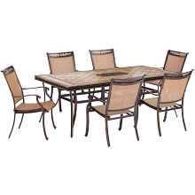 Fontana 7PC Dining Set with Six Stationary Dining Chairs and a Large Tile-Top Table - FNTDN7PCTN