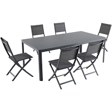Hanover Fresno 7-Piece Outdoor Dining Set with 6 Folding Chairs and a 42