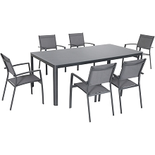 Hanover Fresno 7-Piece Outdoor Dining Set with 6 Sling Arm Chairs and a 42