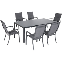 Hanover Fresno 7-Piece Outdoor Dining Set with 6 Padded Sling Chairs and a 42