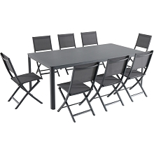 Hanover Fresno 9-Piece Outdoor Dining Set with 8 Folding Chairs and a 42