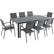 Hanover Fresno 9-Piece Outdoor Dining Set with 8 Sling Arm Chairs and a 42
